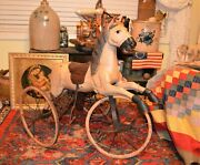 Great Victorian Carved Wood Tricycle Velocipede Horse Saddle Stirrups 1890-1920