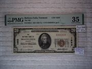 1929 20 Bellows Falls Vermont Vt National Currency T1 1653 1st Nb Pmg 35 Ms