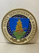 Vintage Us Dept Of Agriculture Wall Seal Plaque - Wood And Plastic - 15 Inch