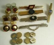 Lot Vtg Art Deco Cufflinks And Tie Clips Barsredsoldier Cameosnap Links