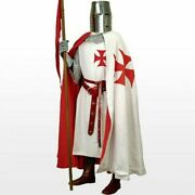 Medieval Red Templar Tunic And Cloak Vintage Clothing Theater Apparel 5 Pieces Lot