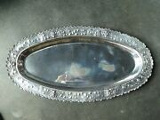 Ornate Oval 900 Silver Tray Decorated With Grapes And Flowers 3357 Toz