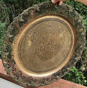 Antique Middle Eastern Islamic Arabic Damascus Large Brass Tray Vino And Grapes