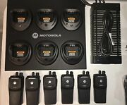 6 Motorola Pr400 Uhf 16 Channel Two-way Radios With New Accessories
