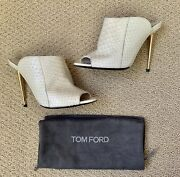 Authentic Tom Ford Off White Python Gold Mules Sandals Size 39 Retail 1590