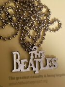 Beatles Logo Silver Metal Necklace Seldom Offered