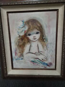 Ozz Franca Original Signed Oil On Canvas Young Girl Nude With Flower Painting