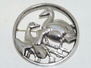 Georg Jensen Sterling Silver Large Brooch With Two Geese From 1933-1944