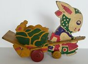 Vintage Trixy Toy 1930's Pull Toy Easter Bunny Pulling Cart