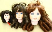 Lot Of 3 Antique French Bisque Doll Head Only Vintage Artist Reproduction