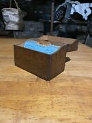 1920s Weis Oak Wood Dovetailed Index Recipe Card Catalog File Box Office Desk