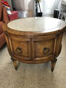 Vintage Side Drum Table With Marble Top