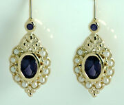 E128 Genuine 9k Or 18k Gold Natural Sapphire And Pearl Earrings Lever-back Hooks