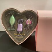 Juicy Couture Collectible Candy Blown Glass Ornaments Set 2008 Nwt Gift Box Rare