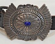 Vintage Native American Sterling Silver And Lapis Concho Belt By Delbert Delgarito