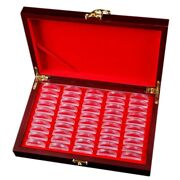 10x50 Pcs Wood Coin Protection Display Box Storage Case Holder Round Box
