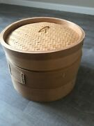 Vintage 3 Pieces 12 Inch Diameter Bamboo Steamer Cooker Section And Lid