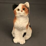 Vintage Stone Critter Calico Kitten Cat Realistic Eyes 4.25andrdquo Figurine 80s
