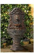 Floor Imperial Lion Antiqued Outdoor Wall Water Fountain With Led Light 50a M29