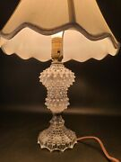 Vtg Clear Hobnail Glass Table Lamp Mid Century Boudoir Pressed Glass Depression
