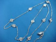 14k White Gold 2.30 Ct T.w. Natural Diamonds 10-stations By The Yard Necklace