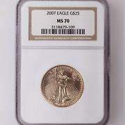 2007 American Gold Eagle G25 Ngc Certified Ms70 1/2oz Age