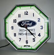 Ford Sales And Service Parts And Accessories Neon Lighted Advertising Clock - Nice