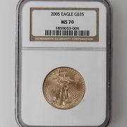 2005 American Gold Eagle G25 Ngc Certified Ms70 1/2oz A.g.e