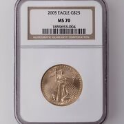 2005 American Gold Eagle G25 Ngc Certified Ms70 1/2oz Age