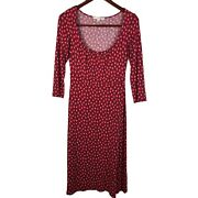 Boden Size 4 R A-line Stretch Knit Dress Red Blue Abstract Print Casual Pullover