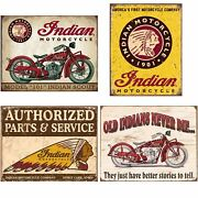 Indian Tin Sign Bundle - Indian Scout, Indian Motorcycles Since 1901, Authorized