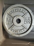 Standard Cast Iron 35 Pound Lb Olympic Weight Plates Set 70 Lb Plate Pair