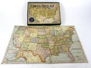 Rare Vintage 1959 United State Us Puzzle Map Selchow And Righter Co - Pre Hawaii