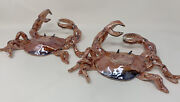 Blue Sky Clayworks Heather Goldminc Iridescent Crab Holding Pearl Set Of 2