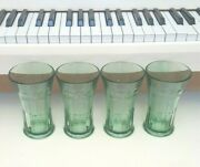 4 Libbey Green Coca Cola Drinking Tumblers Holds 6.25 Inches Holds 14 Ozs