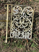 Ornate Antique Wrought Iron Porch Railing W/ Acanthus Leaves And Flowers 2 Avail