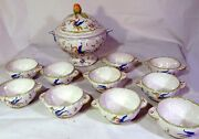 11pc Decor Moustiers French Faience Art Pottery Soup Tureen And Soup Bowls