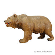 Great Wooden Carved Black Forest Bear, Swizerland Ca. 1920