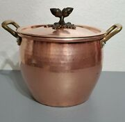 Ruffoni 4.75qt Hammered Copper Pot Acorn Finial Lid Made In Italy
