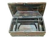 Old Indian Woodenandbrass Fitted Hand Grafted Mughal Pen/pencil Box 6 Compartment