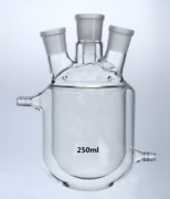 4-necks Glass Jacketed Flask Reactor Vessel Double Layer 250ml Ax