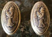 A Pair Of Antique Ornate Figural Door Knobs, Oriental Lady In Kimono, Brass