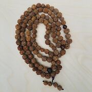 Antique Chinese Or Asian Bodhi Prayer Bead Nut Necklace. Very Long 108+3 Beads,