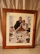 Vintage Pine Frame With Norman Rockwell Print 25x29 Holds 20x24 Molding 2 1/2.