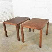 Vintage Modern Lane Parsons Style 1124-5 Walnut End Or Side Tables1970 Pair W/