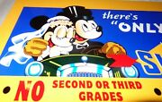 Vintage Sunoco Blue Mickey Mouse And Minnie Driving 12 Metal Gasoline Oil Sign