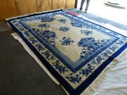 9and039 X 12 Vintage Handmade Chinese Carving Sculpture Wool Rug Asian Chinese