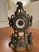 """Antique Heavy Cast Brass Table West Germany Mantle Clock 4025 Cm 14.5"""" Ornate"""