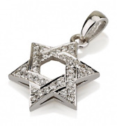 18k White Gold Star Of David Necklace Charm Diamond Studded Domed Layered 13.8mm