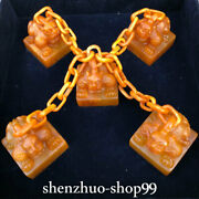 3 Old China Tianhuang Shoushan Stone Carving 5 Pixiu Beast Chain Signet Set